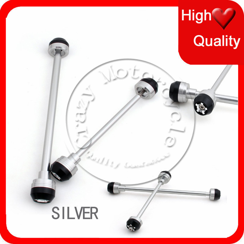Fit For Kawasaki Z1000 2007 2008 2009 2010 Front Rear Axle Fork Crash Sliders Cap Silver Motorcycle Falling Protection<br><br>Aliexpress
