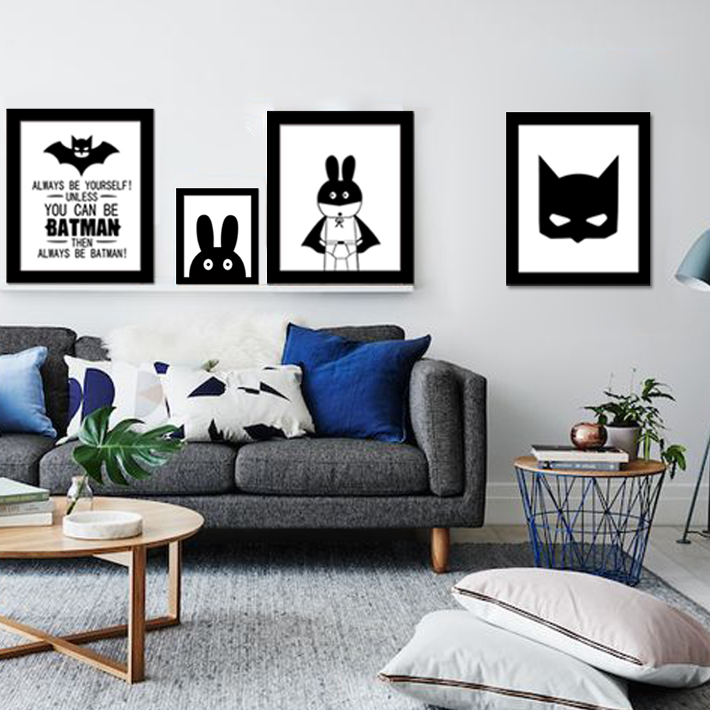 Funlife Batman Superman Hero Inspiration Word Quote Canvas Art Print Poster, Wall Pictures for Kids Room Decoration(China (Mainland))