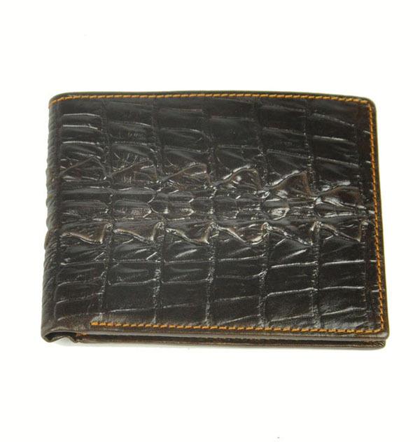 Fashion genuine leather men wallet short men standard crocodile wallet(China (Mainland))