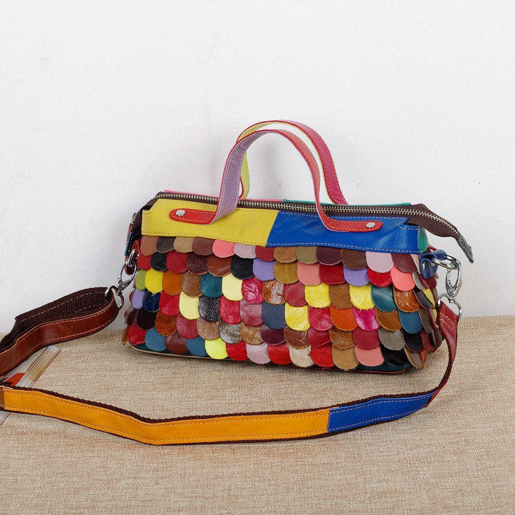 New Multi-colored Patchwork handbag Women's Lambskin Genuine Leather Petal Shoulder Crossbody bag Tote(China (Mainland))