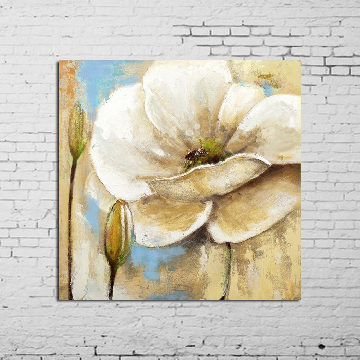 100%Hand Painted Abstract Wall Pictures Living Room White Flowers Oil Painting Canvas Decoration Home Modern Art