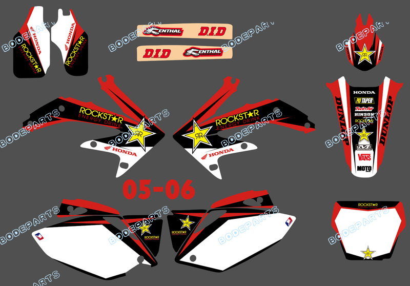 Style (0092 Star Red&White) TEAM GRAPHICS&BACKGROUNDS DECALS STICKERS Kits CRF450 2005-2006 - Yongkang Tongshida Industrial & Trade Co., Ltd. store