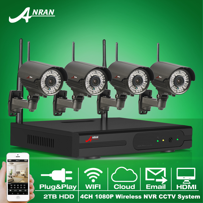 Plug And Play Wireless Security System 4CH NVR Kit 2TB HDD 1080P HD WIFI IR Zoom 2.8mm-12mm Outdoor Surveillance Camera(China (Mainland))