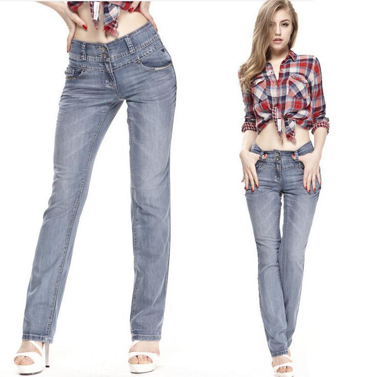 Free shipping LARGE SIZE women's trousers Slim Straight jeans brand NEW woman fashion denim pants(China (Mainland))
