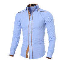 Men Shirt 2016 Fashion Brand Men'S Cuff Striped Long-Sleeved Shirt Male Camisa Masculina Casual Slim Chemise Homme
