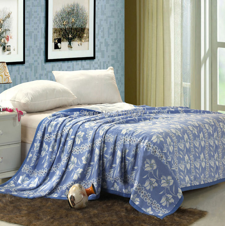 White Floral 100% Cotton Blanket Throw for Sofa / Bed 2015 Spring Summer New 180x220cm 1.5kg 4 Colors Green Red Pink Blue(China (Mainland))