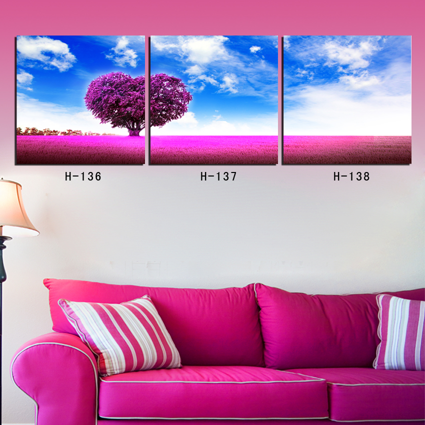 Hot Sell Modern Decorative Art Picture Paint on Canvas Prints On behalf of the love of the heart shape purple trees(China (Mainland))