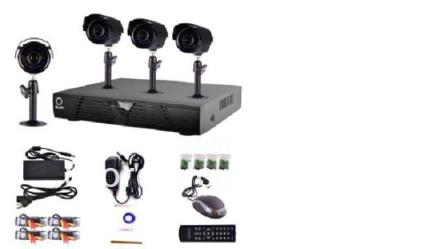 4 Channel CCTV Surveillance Security DVR Camera System, 480 Lines Bullet Camera System