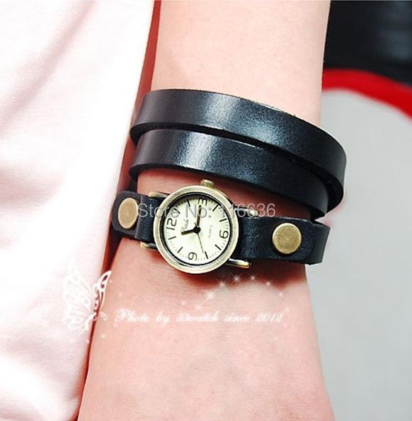 100 pcs plain leather strap wristwatch vintage Casual dress watch Quartz new 2014 multicolor women Ladies woman<br><br>Aliexpress
