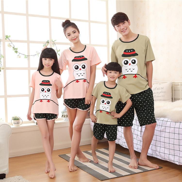 2016 Family fitted shorts suit summer owl pajamas Family look women men couple sleepwear boys girls pyjama chemise de nuit P780(China (Mainland))
