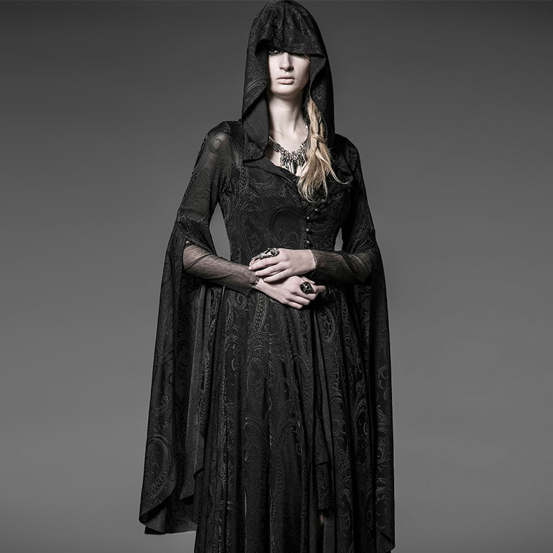 steampunk Dress Long Black Vintage Gothic Dress Noble Lace vestidos de renda Maxi Dresses Robe Longue dentelle