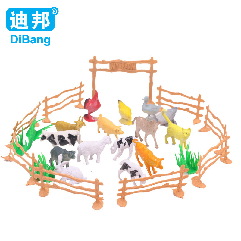 15pcs/set Children Education poultry animal family farm feed fence simulation model animal toy Christmas gift Free shipping(China (Mainland))