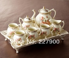 8 Piece Creative European England Luxury Hand Painted Red And Gold Flower Ivory Porcelain Ceramic Coffee Set Tea Set Tea Service