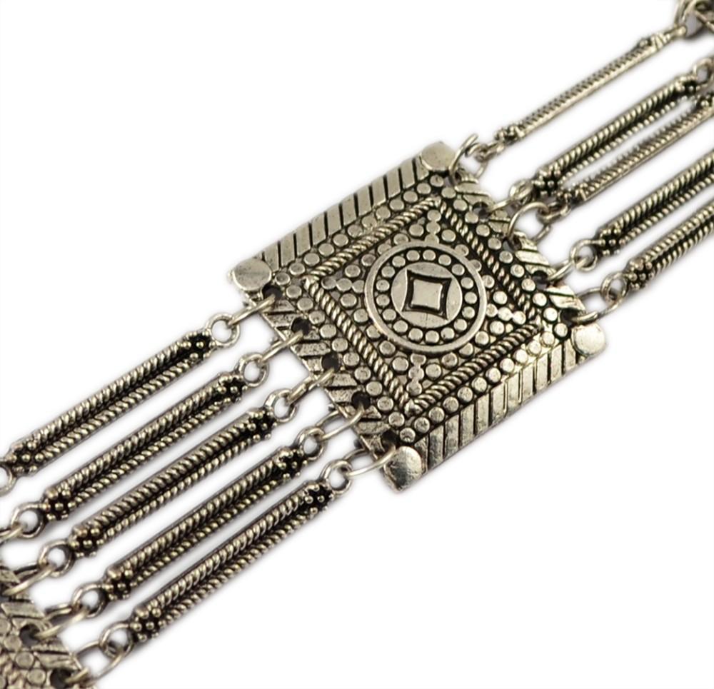 Племенной чешского boho ювелирные изделия тела посеребренная 5 слоя шаблон старинные цветок танец живота пояса талии цепочку ювелирные изделия