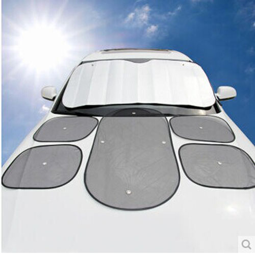Full Car Sun Shade Front Side Rear Window Windowscreen Reflector Sunscreen Sun-shading Board Car Shade Sun Block 6 Pcs Set AH03(China (Mainland))