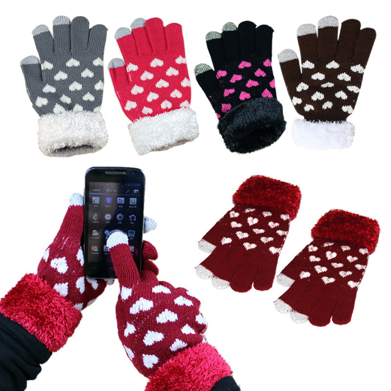 Heart Pattern Winter Warm Unisex Men Women Capacitive Touch Screen Knitted Gloves For iPhone HTC Samsung Galaxy Tablet PC 88 JL(China (Mainland))
