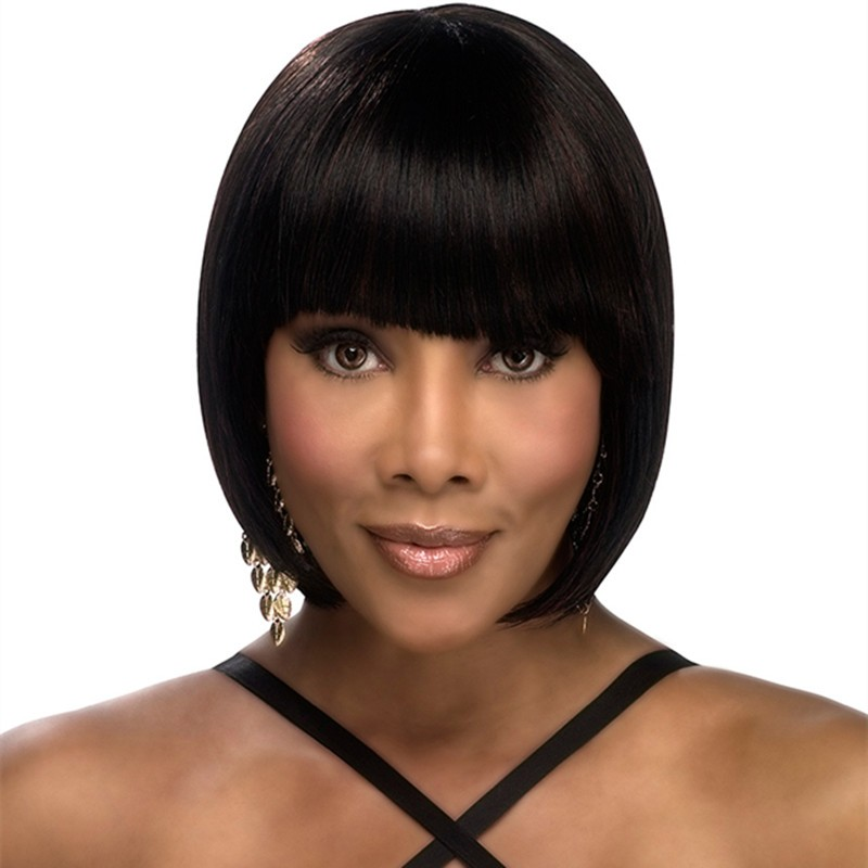 Full Shine Bob Lace Front Wig With Bangs 100% Real Human Hair Midium Size Front Lace Wig Short Straight Bob Hair High Quality