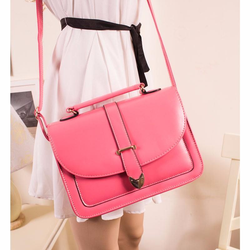 Burnished Leather Messenger Bag Women PU Ladylike Shoulder Bag Trendy Belt Ornament Handbag Designer Cheap Lady Sweet Style Bag