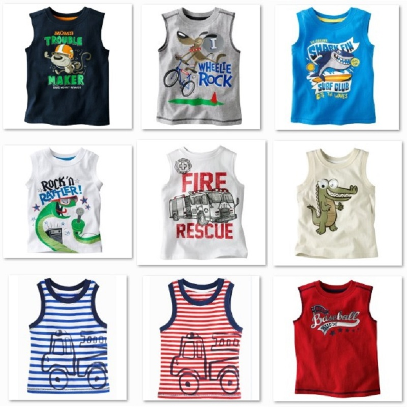 Sleeveless Boys T shirts Children Tops Singlets Retail kids Vest Boys Clothes Baby T-Shirts 2016 Summer Tees Shirt(China (Mainland))