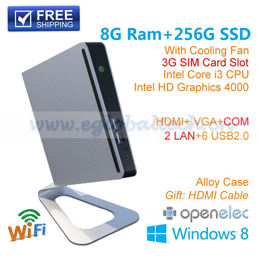 Mini PC i3 Home Computer HTPC Desktop Intel Core I3 3217U 8G Ram 256G SSD Support 3G Wifi Bluetooth IR Remote DHL Free Shipping(China (Mainland))
