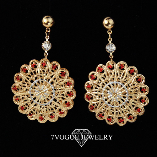 Free shipping beautiful big flower 18k real gold plated for Drop shipping jewelry business
