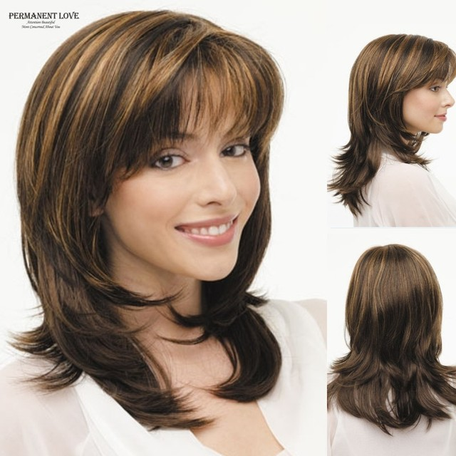 Synthetic Layered Wigs Brown Blonde Highlights Straight