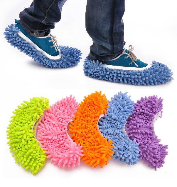Multifunction Microfiber Chenille Floor Dust Cleaning Slippers Mop Wipe Shoes Wigs House Home Cloth Clean Cover Mophead Overshoe(China (Mainland))