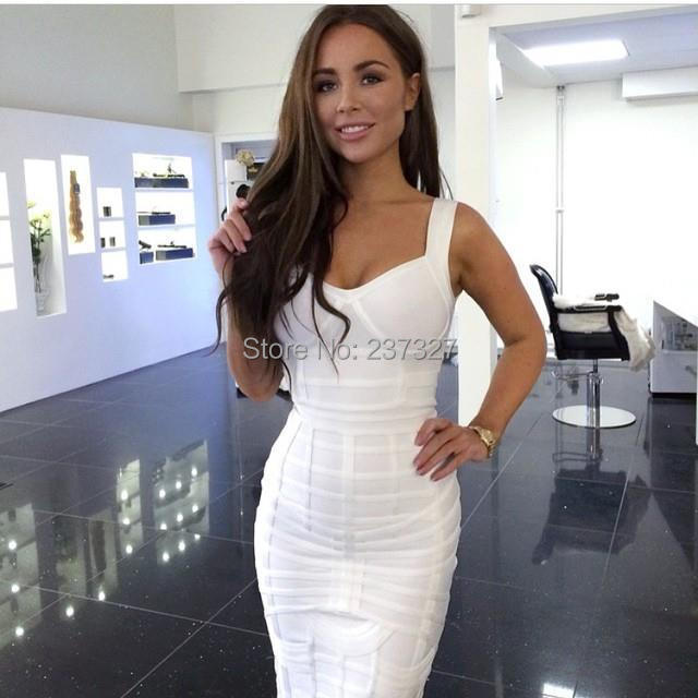 Free Shipping New Arrival 2015 Women Elegant White Heavily Banded Bustier Knee Length Bodycon Bandage Dress Celebrity Dresses(China (Mainland))