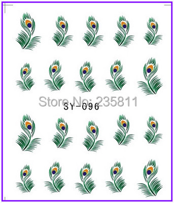 1X Nail Art Water Transfers Stickers Decals Decal Peacock Feather Plumage SY96 - Jenny's nail beauty store