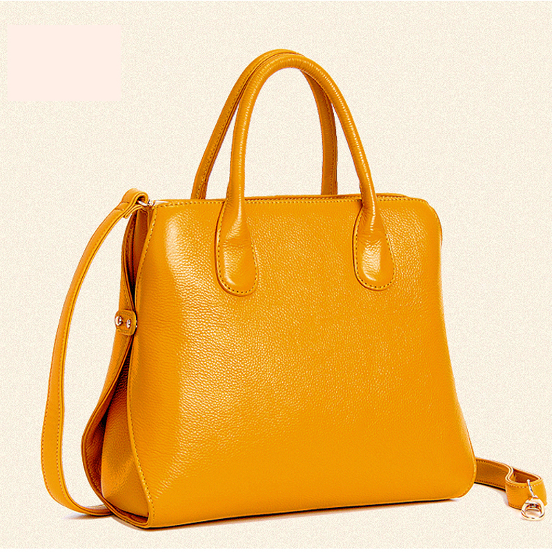 2015 Women Leather Handbags 100% Genuine Leather Shopping-Bag Yellow/White/Red/Rose<br><br>Aliexpress