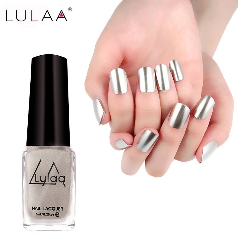 LULAA Nail Polish 5 Colors 6ML Gel Polish Nail Polish Shellac Glue Art Gel Lacquer Newest Colors Gorgeous Mirror Metal Bright(China (Mainland))
