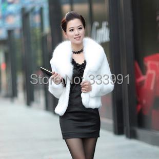 Fur faux fur coat mink hair rex rabbit hair cape jacket black and white fur overcoat imitation rabbit fur faux fox collar(China (Mainland))
