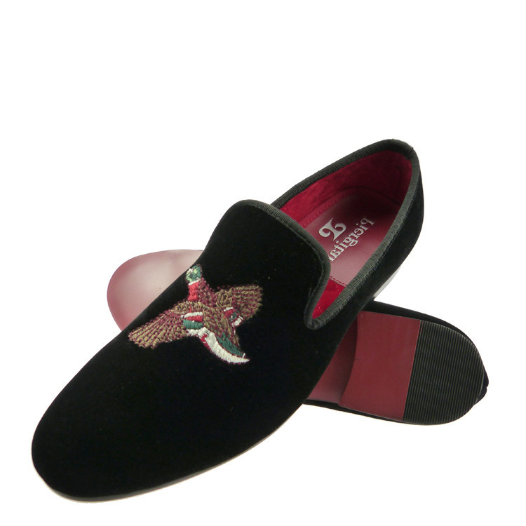 velvet loafers men black bird embroidery slippers shoes US size 6-13