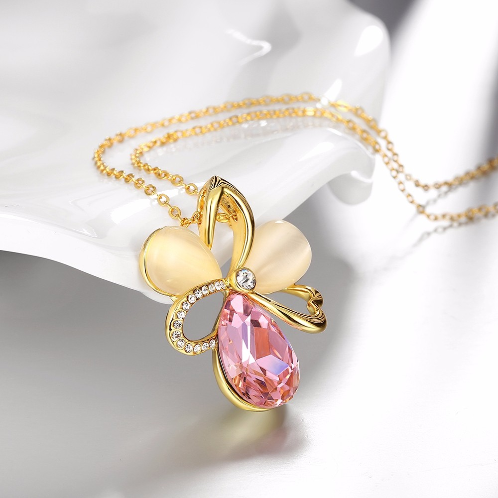 9-925 Sterling Silver Jewelry Vintage Accessories Hollow Flower Design 18K Gold Plated Fashion Jewelry Opal&Rhinestone Pendant Necklace For Women QA0059