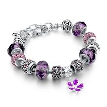 Gift!!! 925 Silver Heart Charm Bracelets & Bangles Crystal&Glass Beads Bracelets For Women Pulsera DIY Jewellery SBR160010(China (Mainland))