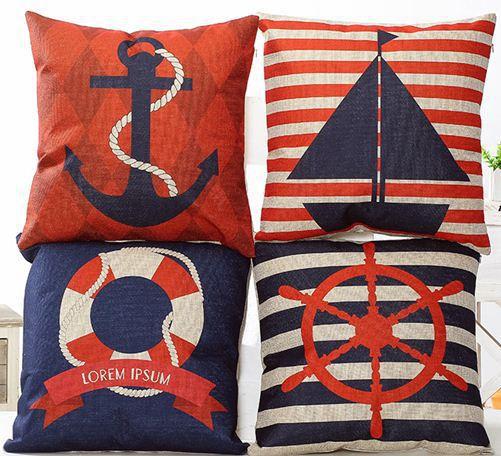 Nautical throw pillows cushion cover navy decorative pillowcase red pillowcases stripe home decor linen cotton vintage