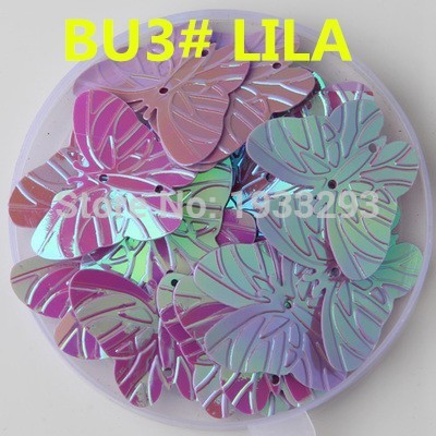 50Pcs LILA Color 22*30mm Large Butterfly Sequins with 2 holes Paillette Sewing glitter stickers in children serioms&Clothing(China (Mainland))
