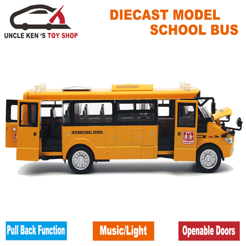 Diecast Bus Model, 22Cm Length Metal Toy, Alloy Car For Boys With Gift Box/Openable Doors/Music/Light/Pull Back Function(China (Mainland))