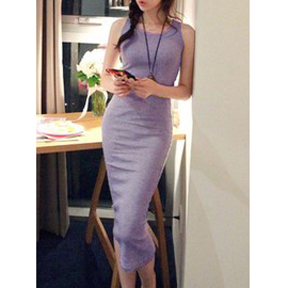Women Long Vest Bodycon Dress Maxi Jersey Sleeveless Stretch Summer Black/Pink(China (Mainland))