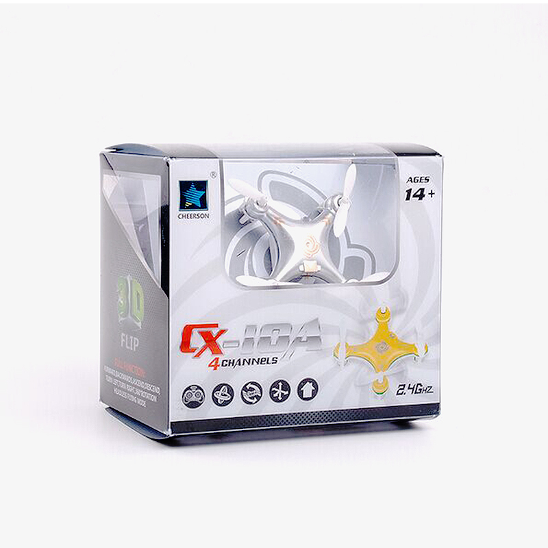 Woldewide Welcomed Cheerson CX 10A RC Quadcopter 4CH 2 4GHz Headless Mode Drone white ColorBig Promotion