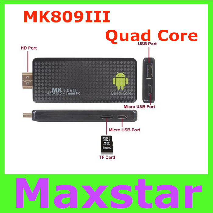 Quad Core RK3188 Android Mini PC MK809III Android 4.4.2 KitKat 2G/8G 1.6GHz Bluetooth Wifi XBMC Google TV Player MK809 iii(China (Mainland))