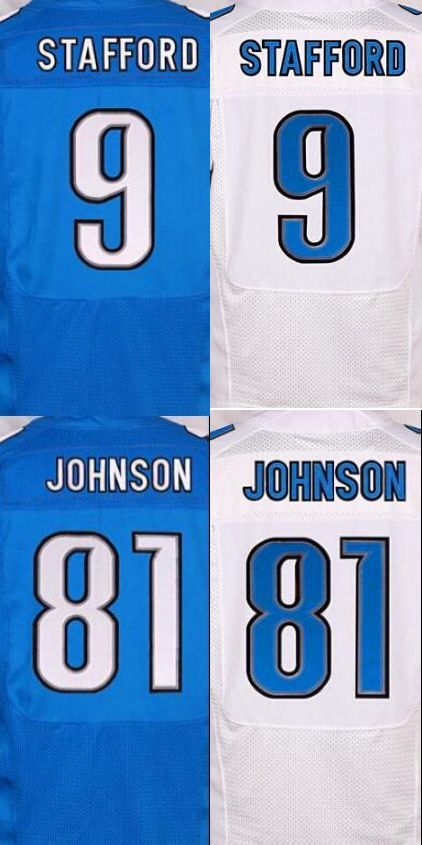 NEW MEN 'S 81 Calvin Johnson jerseys 9 Matthew Stafford white blue 100% Stitched jersey(China (Mainland))