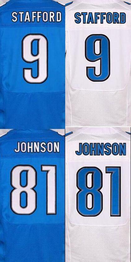 NEW MEN 'S 81 Calvin Johnson jerseys 9 Matthew Stafford white blue 100% Stitched jersey(China (Mainland))