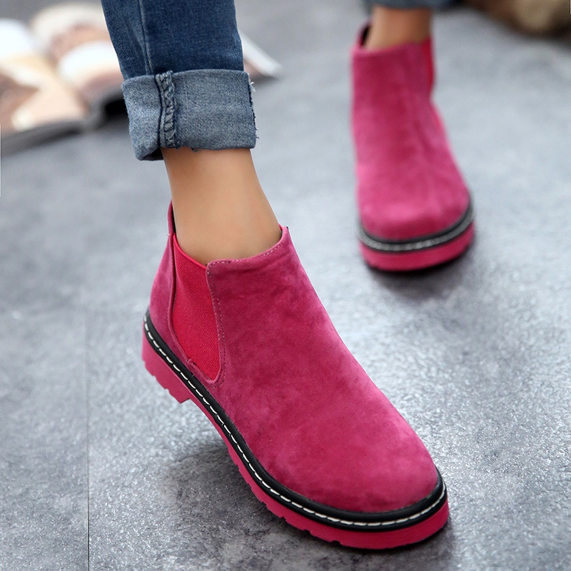 cheap boots autumn ankle boots faux suede low heels