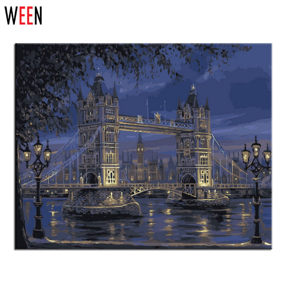 London Bridge Pinturas Wall Pictures For Living Room Quadros De Parede Sala Estar Painting By Numbers Canvas Oil Paintings(China (Mainland))