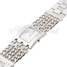 Women Quartz Watch Wristwatch Stainless Steel Alloy Silver White Rectangle Dial Chain Link Fashion New