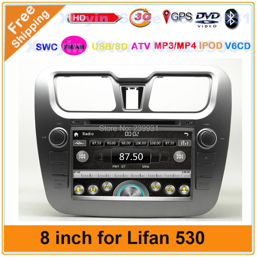 Wholesale Lifan 530 Car DVD Player with GPS Navigation and Bluetooth Support IGO/Navitel map and Russia language Free shipping(China (Mainland))