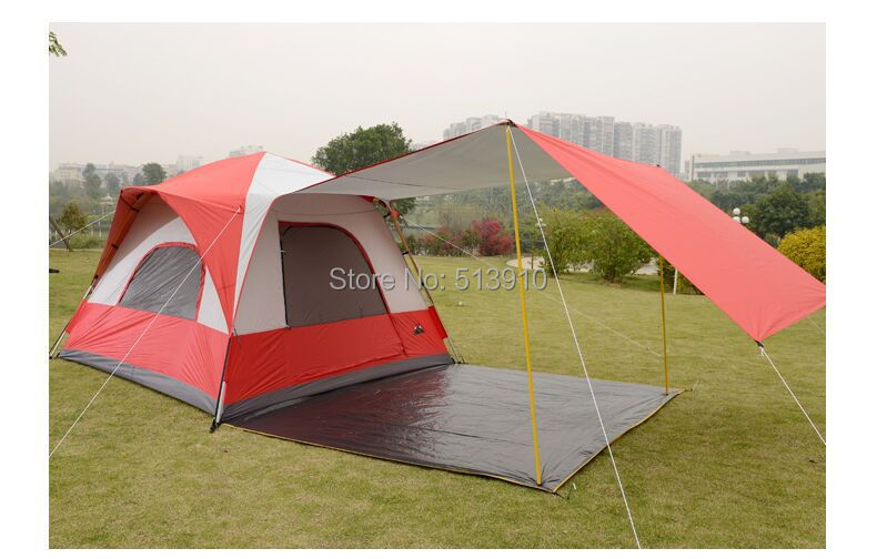 Free shipping outdoor tent 5-8 people more than double aluminum automatic rain camping family tent Bedroom<br><br>Aliexpress