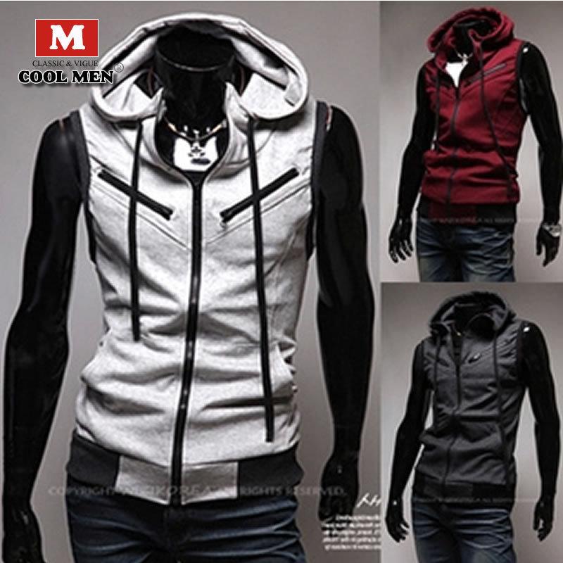 Men's Vest Autumn Spring 2015 Men's Fashion Vest Slim Hooded Zipper Men's Vest Cotton High Quality Solid Turn-down Men's Vest(China (Mainland))