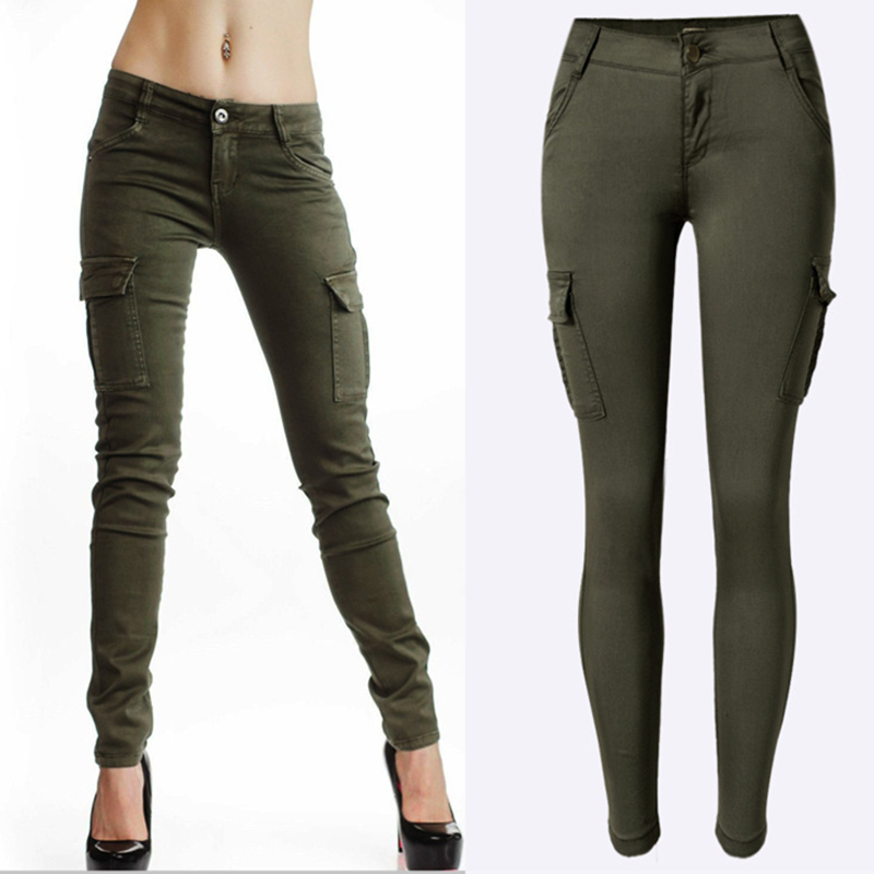 Perfect  Trousers Womens Slim Fit Skinny Army Military Pants 614  EBay